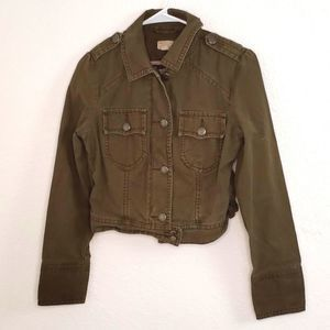 American Eagle Outfitters Olive Cropped Jacket